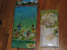 DISNEY FAIRIES GLITTER 30 WALL DECALS & 1 PLASTIC PARTY TABLE COVER TINKERBELL