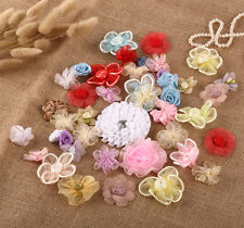 50 x Mixed 3D Fabric Flower Motifs Embellishment Dress Making Craft