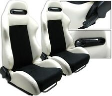 NEW 2 WHITE PVC LEATHER & BLACK RACING SEATS RECLINABLE SLIDERS