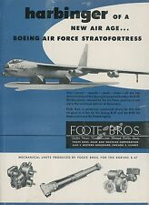 1952 Foote Bros. Aviation Ad Boeing B-52 Air Force Stratofortress Bomber Jet