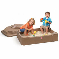Step2 Play & Store Sandbox Pit Lid Kids Cover Outdoor Toys Sand Games Toddler