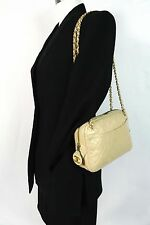 Auth CHANEL Beige Lamb Skin Leather CC Charm Tote Purse Handbag Shoulder Bag