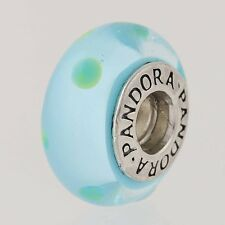 Pandora Charm Sterling Silver Murano Glass 790609 Teal Green Polka Dots Retired
