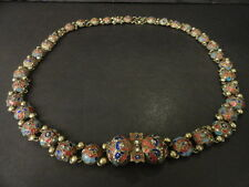 Antique Russian silver 84 cloisonne enamel belt with buckle approx. 30 inches