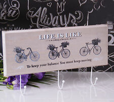Shabby Chic Gris De Madera De Pared Ganchos Rack abrigos Colgador Bicicletas Amante