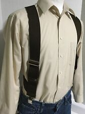 """New, Men's, Brown, XL, 2"""", Adj.  Side Clip Suspenders, Made in the USA"""