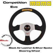 MOMO COMPETITION EVO 320MM AIRLEATHER STEERING WHEEL SILVER SPOKES