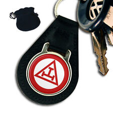 TRIPLE TAU CROSS MASONIC LEATHER KEYRING / KEYFOB