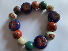 CERAMIC HIPPY FLOWER PRINT STRETCH BEAD BRACELET new gift pouch