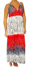 D3T Red Multi-color Long MAXI Empire Waist Summer DRESS Beach Cocktail S M L XL
