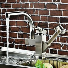 Nickel Brushed Double Water Spout Pull Out Kitchen Sink Mixer Tap Swivel Faucet