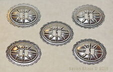 "Set of 5 Silver Plated Oval Conchos - Crafts/Boots/Hats/Belts - Bulk Lot - ""NEW"""
