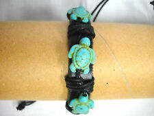 NEW THICK BLACK REAL LEATHER with 3 TURQUOISE HONU SEA TURTLES ADJ BRACELET