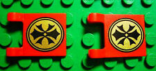 LEGO 2 New Red Flags 2x2 Orient China Pattern 2003 7-14 Orient Expedition