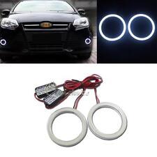 2 x 75mm High Power White Angel Eye COB LED Rings Fog Lights Waterproof For Car