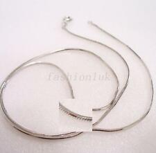 """White Gold Plated Simple Classic Chain 45cm 17.5 """" Small Pretty Snake Rope Part"""