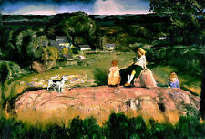 Oil painting George Bellows Three Children portraits with dog in landscape art