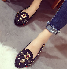 US7 Women's Studs Rhinestone Loafers Flat Causal Shoes Pumps Suede Ronud Toe