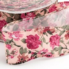 NEW 38mm x 10M VINTAGE FLORAL WIRED EDGE RIBBON 4 colours