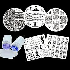 4x arte en las uñas stamping galería de símbolos placa & claramente Jelly sello traillas set