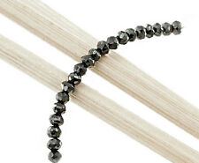 20 Genuine black diamond Faceted Rondelle Beads 2 mm.