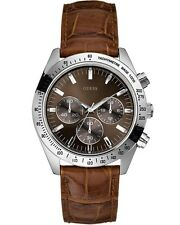 Guess Chase Chronograph Brown Leather Strap Ladies Watch W12004G2