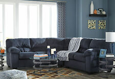 Modern Dark Blue Microfiber Living Room Sofa Couch Sectional Set Furniture-IG1E