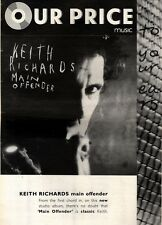24/10/92PGN34 KEITH RICHARDS : MAIN OFFENDER ALBUM ADVERT 15X11""