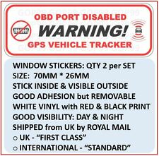 2 x WARNING: OBD PORT DISABLED & GPS VEHICLE TRACKER WINDOW STICKERS, CAR VAN