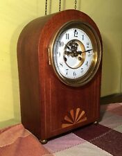 Rare Mid Century Deco Style Waterbury Montgomery Open Escapement Mantle Clock