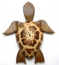 "NEW Hawaiian Souvenir Fridge Magnet  ~ 4"" Large Wood Turtle #18138 (QTY 2)"