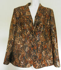 HORST BASLER (UK14 / EU42) BROWN PAISLEY LONG-SLEEVED SEQUIN AND LINED JACKET