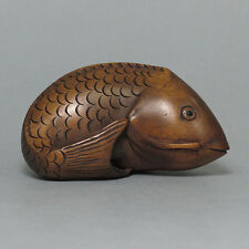 "Boxwood Netsuke ""CARP FISH"" Carving (WN297)"