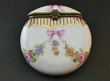 VINTAGE LIMOGES HAND PAINTED PORCELAIN CIRCULAR TRINKET KEEPSAKE BOX