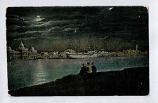 C2826cgt Egypt Cairo Harbour at night vintage postcard