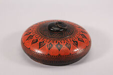 Vintage India Painted Round Wood Tobacco Snuff Box
