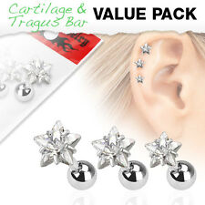3 Pcs Clear CZ Star Surgical Steel Helix Tragus Cartilage Barbell Stud Earring