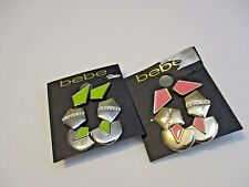 NWT bebe TWO SETS Trio Stud  Earrings Silver/LIME, GOLD CORAL earrings!!MSRP$35