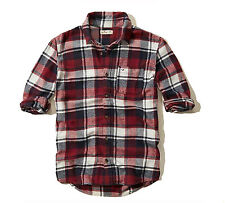 BRAND NEW HOLLISTER MENS GUYS COLLAR CASUAL SHIRT FLANNEL PLAID BLOUSE TOP SZ M