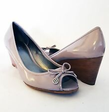 NEW! Coach Paola Open Toe Patent Kid Leather Ash Gray Wedge Shoes, Size 9