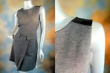 RETAIL $348 MARC by MARC JACOBS Plum Kitten Melange gray wool leather dress L