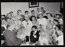 Vintage Photograph Wedding Bride & Groom Crazy Hats - Moustaches - Cool Outfits