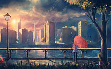Lámina-Mujer Con Red Paraguas siguiendo el río (imagen de arte cartel)