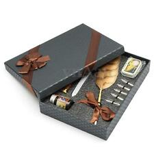 Luxury Vintage Quill Feather Dip Pen Writing Ink Xmas Gift Box Stationery Set