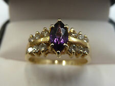 14ct Solid Yellow Gold Amethyst Ring Size O,  3 grams