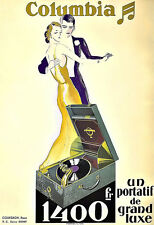 Art Ad Columbia  Record Player Players Gramaphone Deco  Poster Print