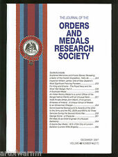 OMRS  vol 46  # 4  2007  Journal Orders & Medals Research Society  UK MEDAL MAGZ