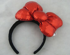 New Disney Parks Minnie Mouse Oblique Red Bow Sequins Ear Headband Costume Party