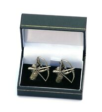 Bow Hunting Archer Cufflinks Handmade Pewter Archery And Arrow Present Mens Gift