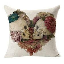 Vintage Skull Cotton Linen Pillow Case Sofa Throw Cushion Cover Home Decor SKUK